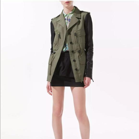 Zara Jackets & Blazers - ZARA Safari Military Jacket w/ 100% Leather Sleeve